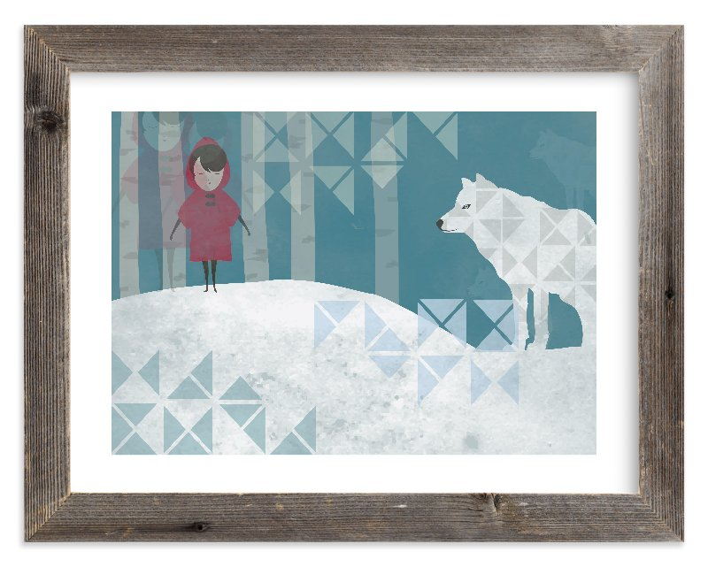 """Girl and Wolf"" - Limited Edition Art Print by Milk and Marrow in beautiful frame options and a variety of sizes."