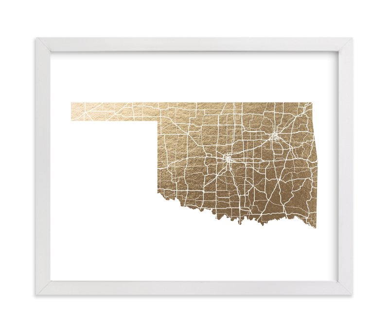 """Oklahoma Map"" - Foil-pressed Art Print by GeekInk Design in beautiful frame options and a variety of sizes."