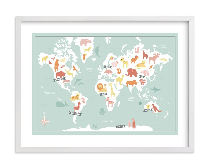 """Animal World Map"" - Limited Edition Art Print by Jessie Steury in beautiful frame options and a variety of sizes."