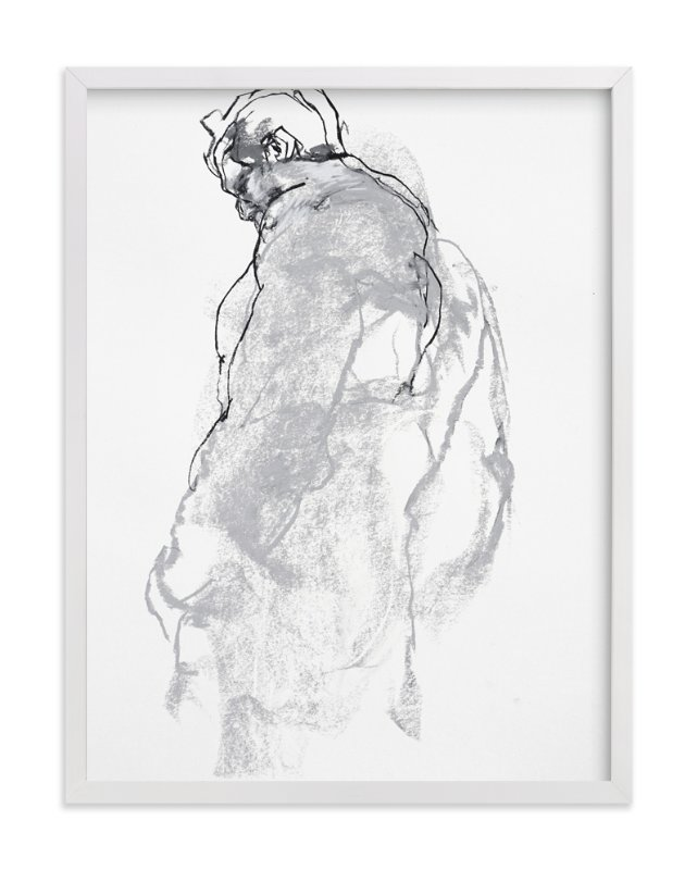 """""""Drawing 357 - Figure from the Side"""" - Art Print by Derek overfield in beautiful frame options and a variety of sizes."""