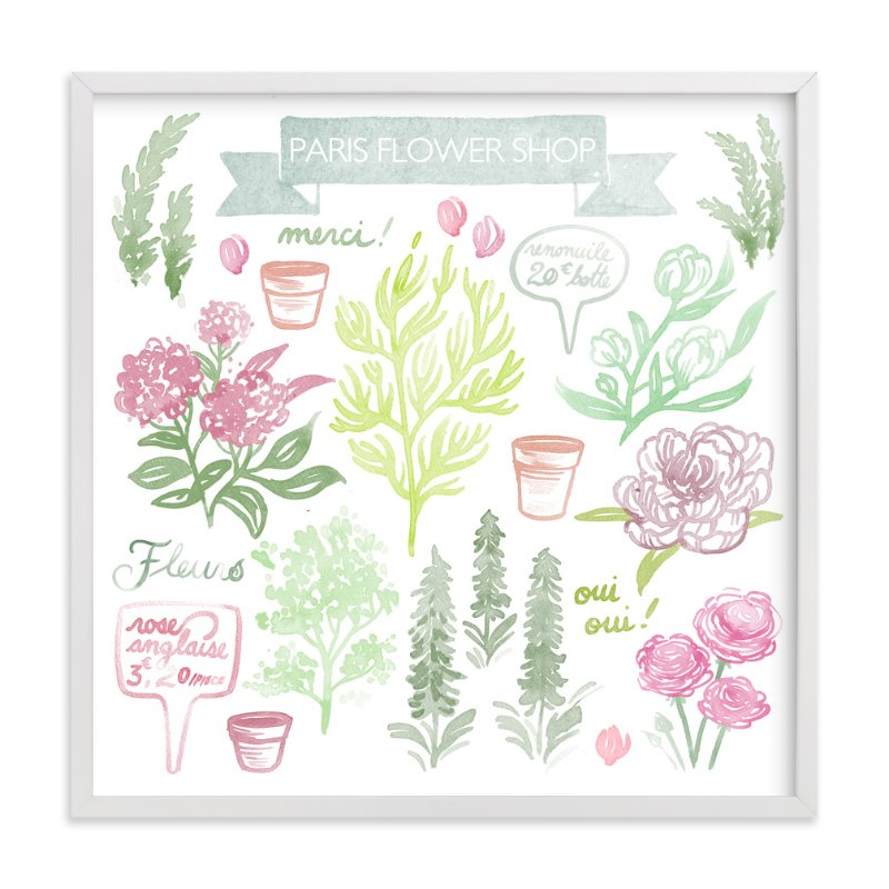 """""""French Flower Shop"""" - Art Print by Paper Raven Co. in beautiful frame options and a variety of sizes."""