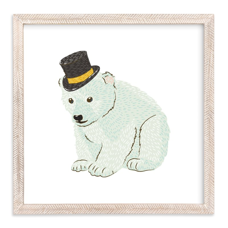 """Polar Bear Cub with Hat"" - Art Print by Snow and Ivy in beautiful frame options and a variety of sizes."