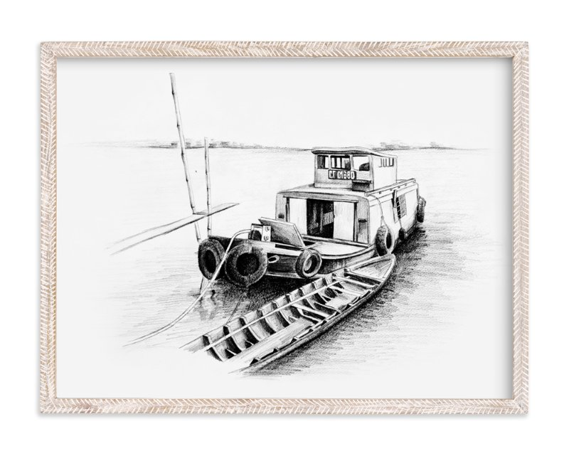 """""""Sketchy Boat"""" - Art Print by Tung Tram in beautiful frame options and a variety of sizes."""