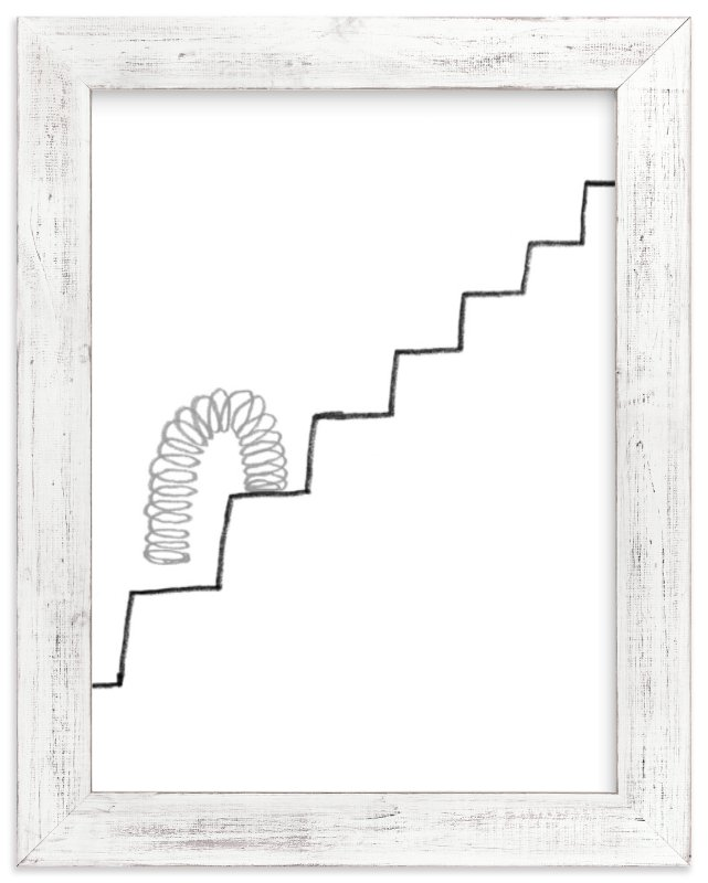 """Slinky on the Stairs"" - Art Print by Elliot Stokes in beautiful frame options and a variety of sizes."
