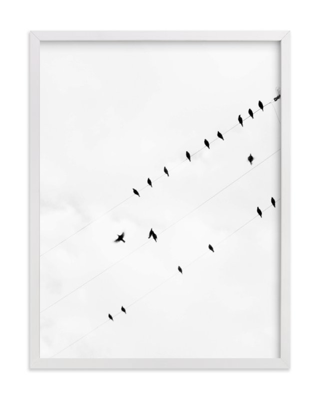 """Birds on a Wire"" - Art Print by Angela Thompson in beautiful frame options and a variety of sizes."
