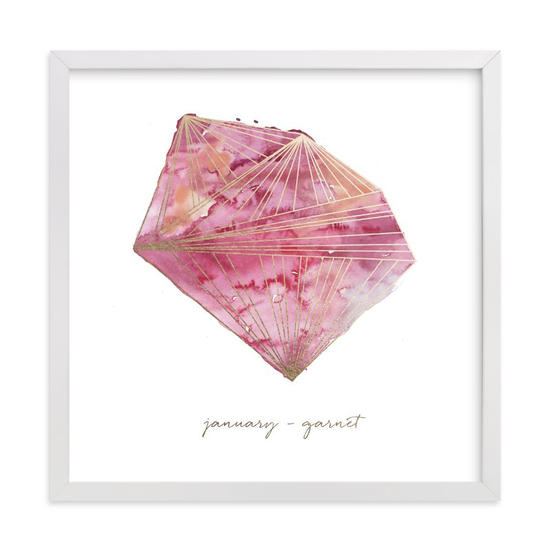 """""""January - Garnet"""" - Foil-pressed Art Print by Naomi Ernest in beautiful frame options and a variety of sizes."""