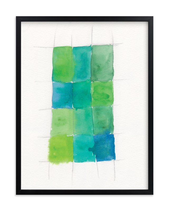 """""""Aqua Grid"""" - Art Print by Design Lotus in beautiful frame options and a variety of sizes."""