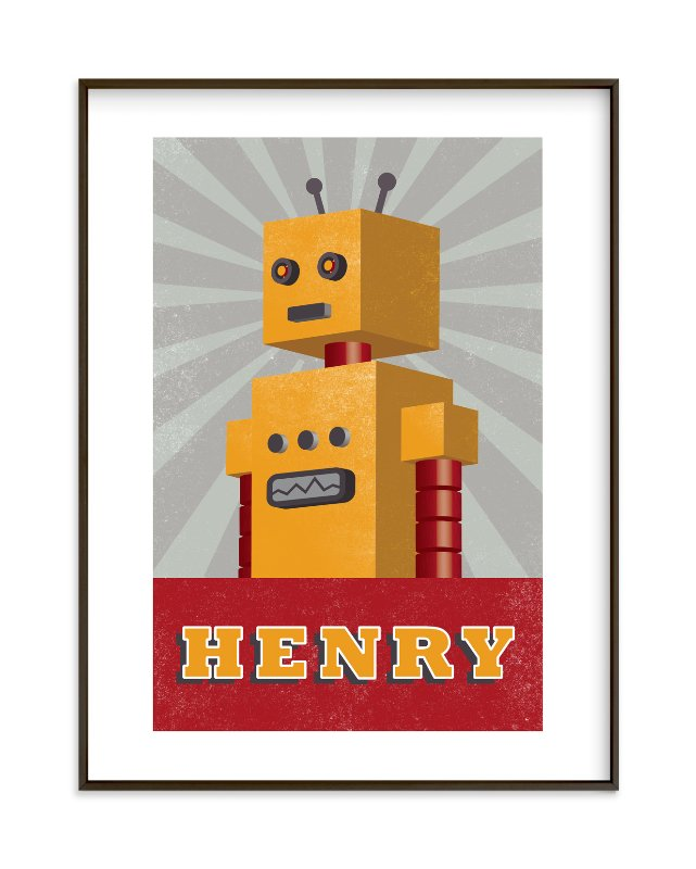 """Vintage Bot"" - Children's Custom Art Print by Olivia Raufman in beautiful frame options and a variety of sizes."