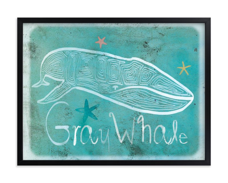 """Dot Gray Whale"" - Art Print by Tracy Ann in beautiful frame options and a variety of sizes."