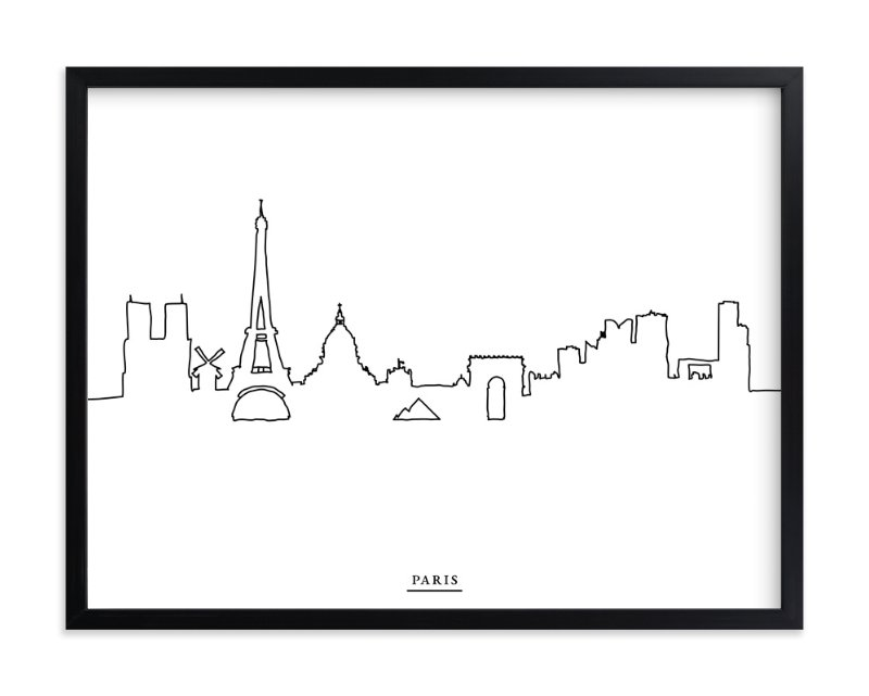 """skyline line: paris"" - Art Print by Cindy Lackey in beautiful frame options and a variety of sizes."