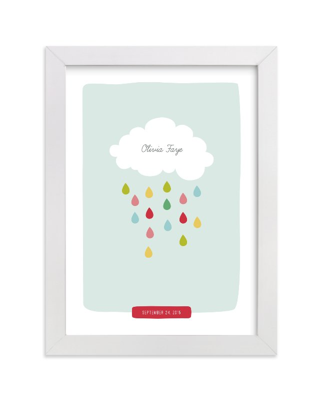 """""""Raindrops Keep Falling"""" - Nursery Custom Art Print by Stacey Meacham in beautiful frame options and a variety of sizes."""