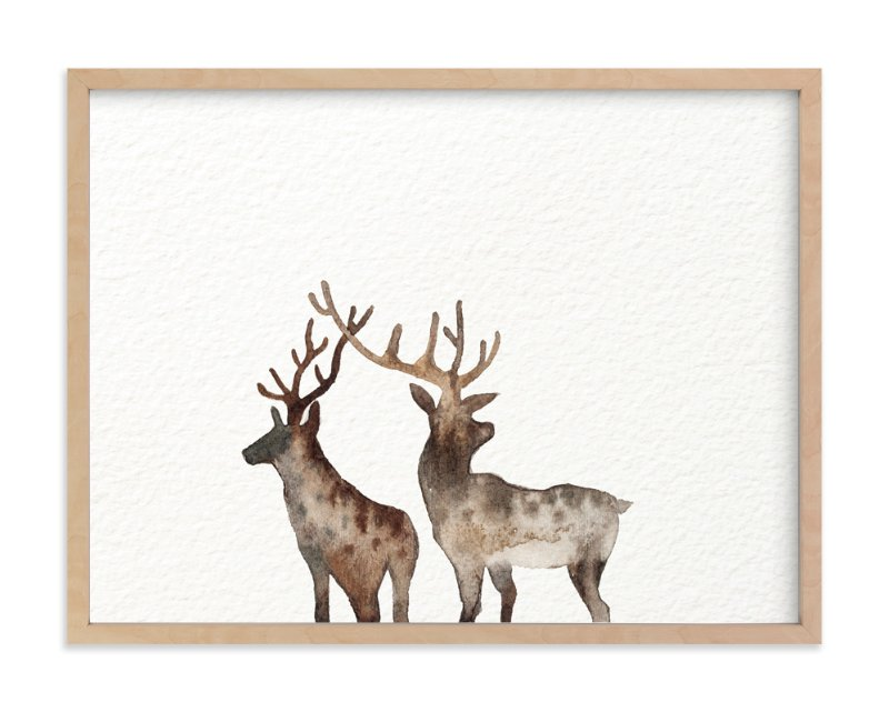 """Merry Christmas, Comet & Cupid "" - Art Print by jinseikou in beautiful frame options and a variety of sizes."
