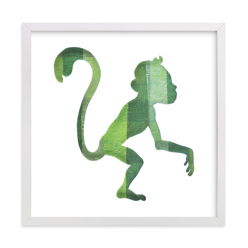 """""""Green Party Monkey"""" - Art Print by Jeff Preuss in beautiful frame options and a variety of sizes."""