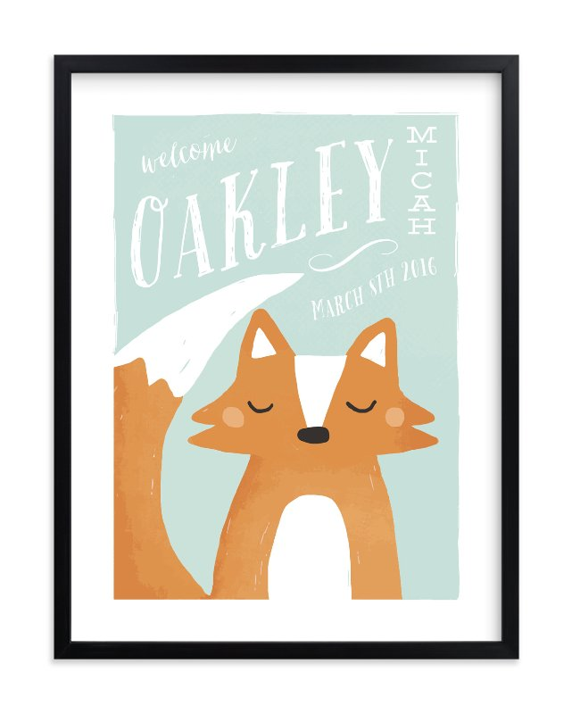 """""""Fox"""" - Children's Custom Art Print by August and Oak in beautiful frame options and a variety of sizes."""