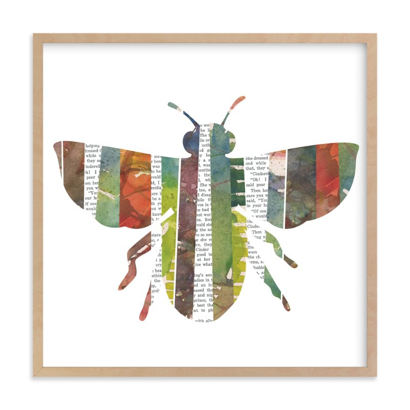 """Honey Bee Collage"" - Art Print by Snow and Ivy in beautiful frame options and a variety of sizes."