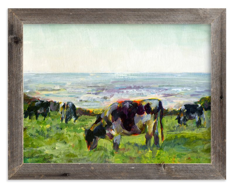"""Marin Cows"" - Art Print by Alex Elko Design in beautiful frame options and a variety of sizes."