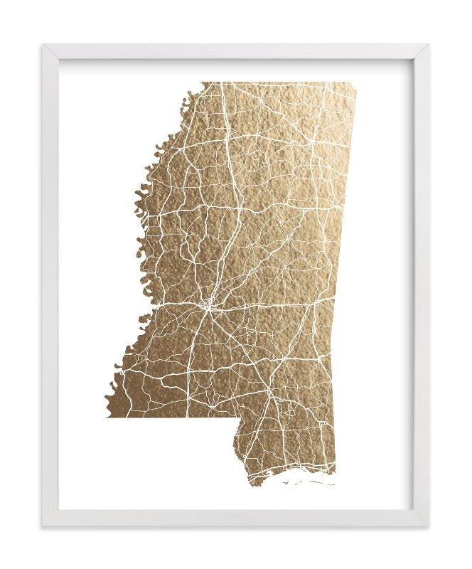 Mississippi Map FoilPressed Wall Art By GeekInk Design Minted - Missisippi map