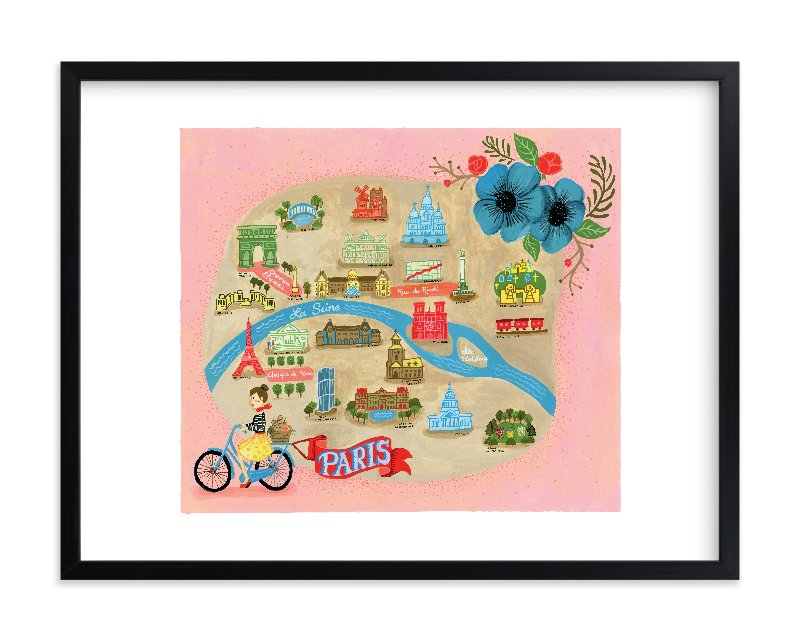 """Map of Paris"" - Limited Edition Art Print by angel b lee in beautiful frame options and a variety of sizes."