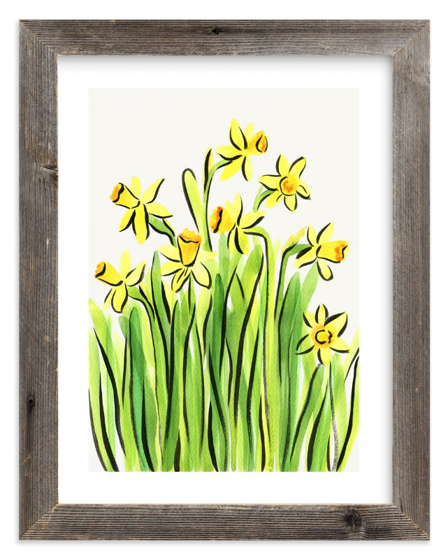 """Daffodils"" - Limited Edition Art Print by Alexandra Dzh in beautiful frame options and a variety of sizes."