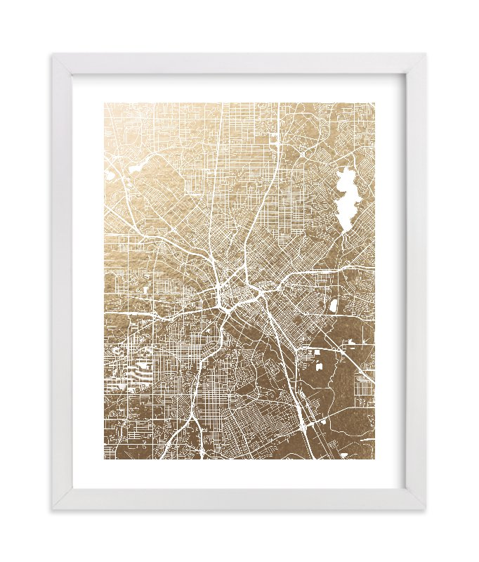 """Dallas Map"" - Foil-pressed Art Print by Alex Elko Design in beautiful frame options and a variety of sizes."