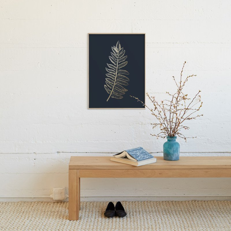 """Leaf Study 1"" - Foil-pressed Art Print by annie clark in beautiful frame options and a variety of sizes."