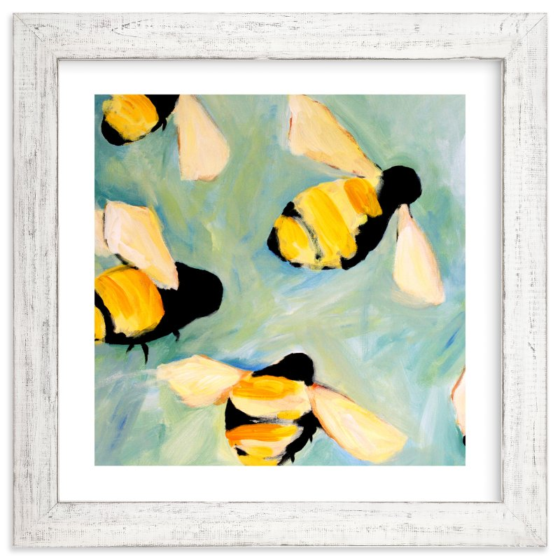 """Happy Bees"" - Limited Edition Art Print by claire whitehead in beautiful frame options and a variety of sizes."