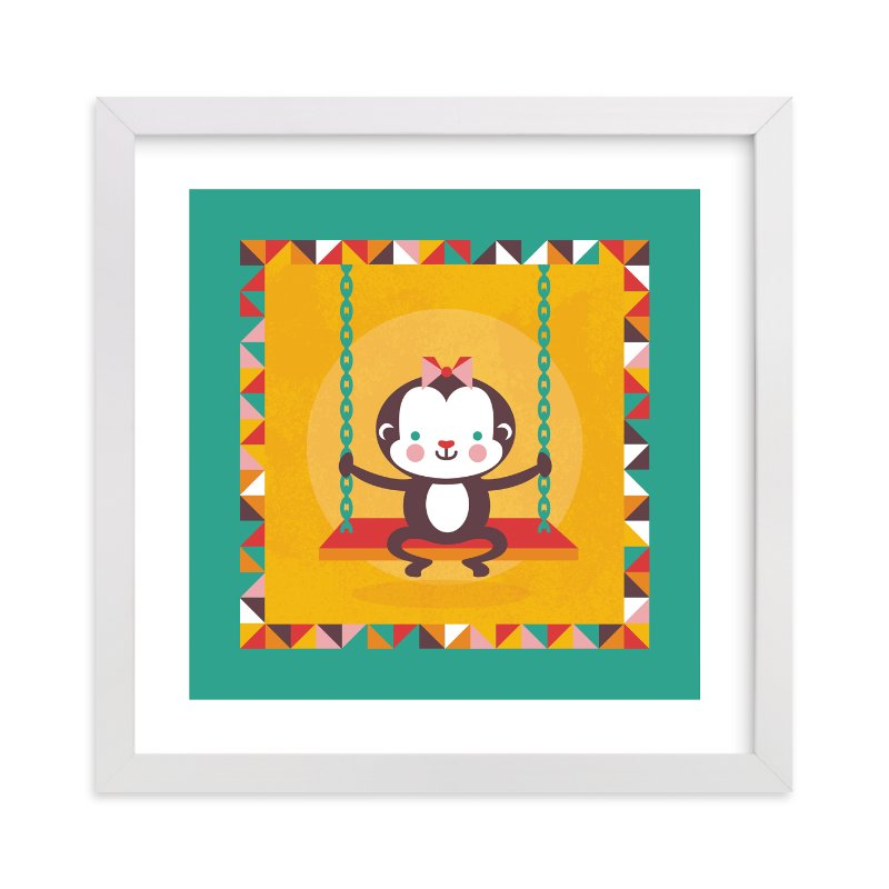 """""""Playground Monkey"""" - Art Print by Mandy Rider in beautiful frame options and a variety of sizes."""