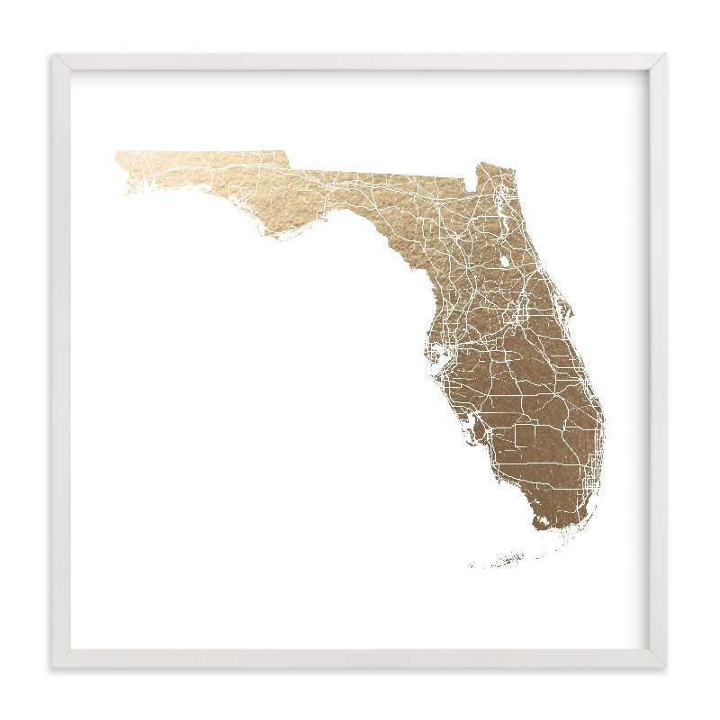 """Florida Map Filled"" - Foil-pressed Art Print by GeekInk Design in beautiful frame options and a variety of sizes."