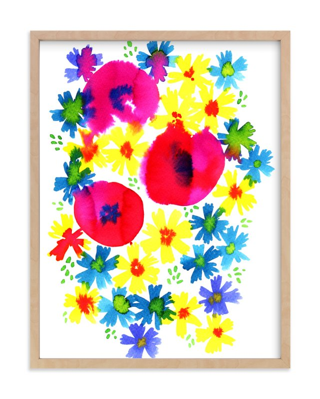 """Bright summer florals"" - Art Print by Alexandra Dzh in beautiful frame options and a variety of sizes."