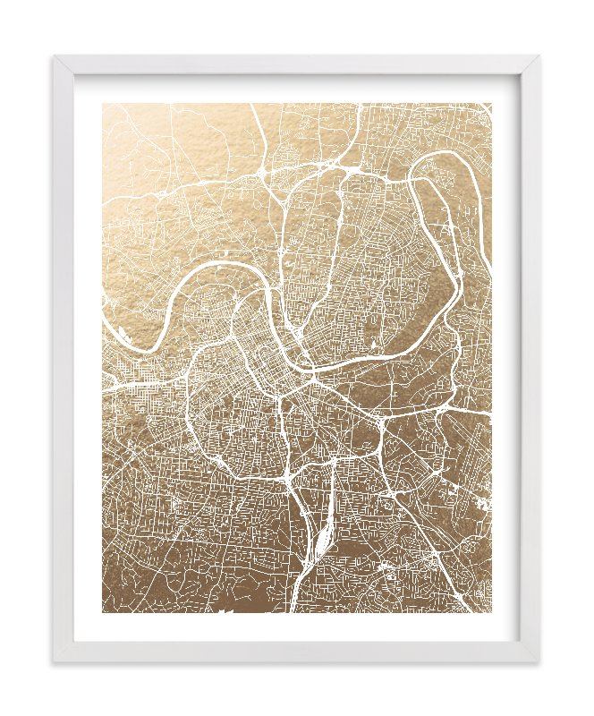 """Nashville Map"" - Foil-pressed Art Print by Alex Elko Design in beautiful frame options and a variety of sizes."