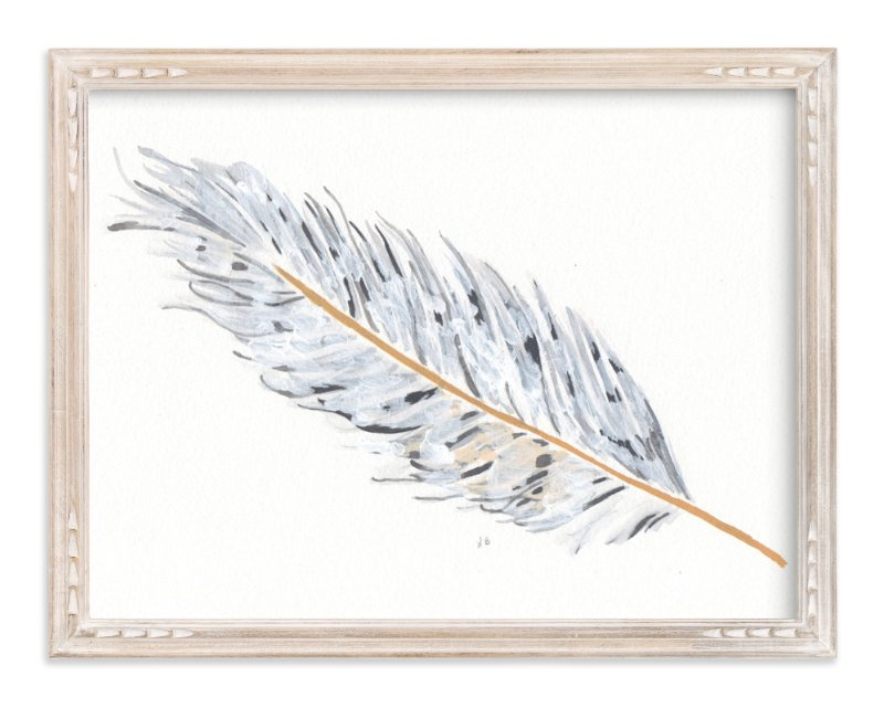 """Grey Feather"" - Art Print by Prittybird in beautiful frame options and a variety of sizes."