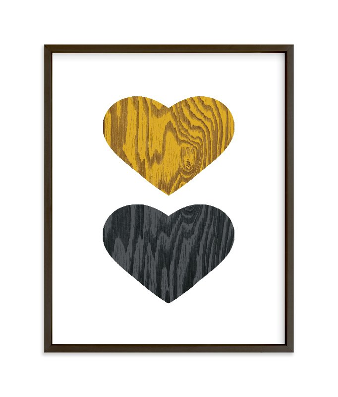 """""""Wood Grain Hearts"""" - Limited Edition Art Print by Max and Bunny in beautiful frame options and a variety of sizes."""