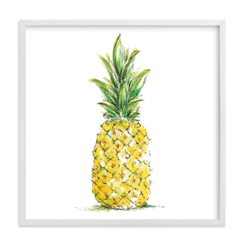 """Painted Pineapple"" - Art Print by Kirby Lee Smith in beautiful frame options and a variety of sizes."