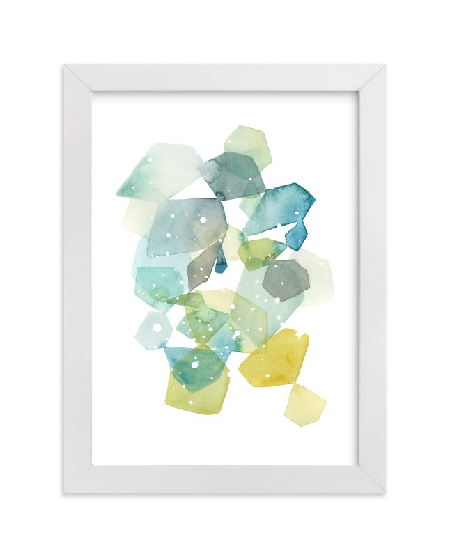 """Hexagon with Dots in Blue"" - Art Print by Yao Cheng in beautiful frame options and a variety of sizes."
