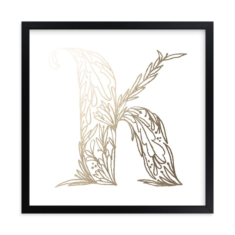 """Botanical K"" - Foil-pressed Art Print by Grace Kreinbrink in beautiful frame options and a variety of sizes."