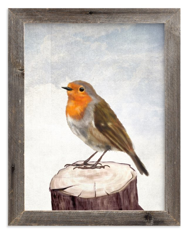 """""""Robin Bird"""" - Art Print by iamtanya in beautiful frame options and a variety of sizes."""