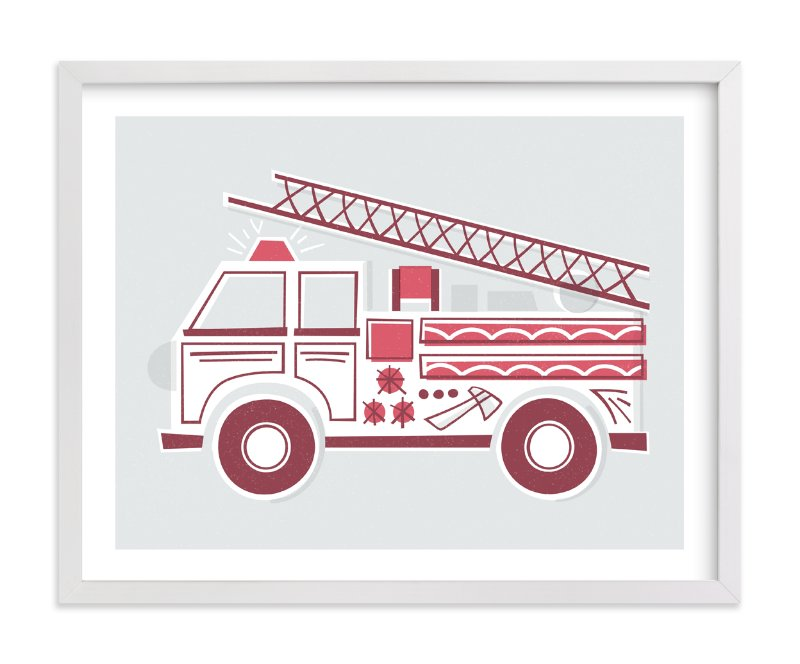 """Fancy Firetruck"" - Limited Edition Art Print by Jessie Steury in beautiful frame options and a variety of sizes."