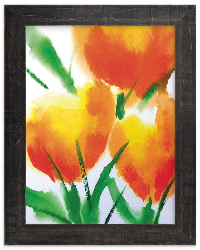 """""""Zesty Orange Tulips"""" - Art Print by Roopali in beautiful frame options and a variety of sizes."""