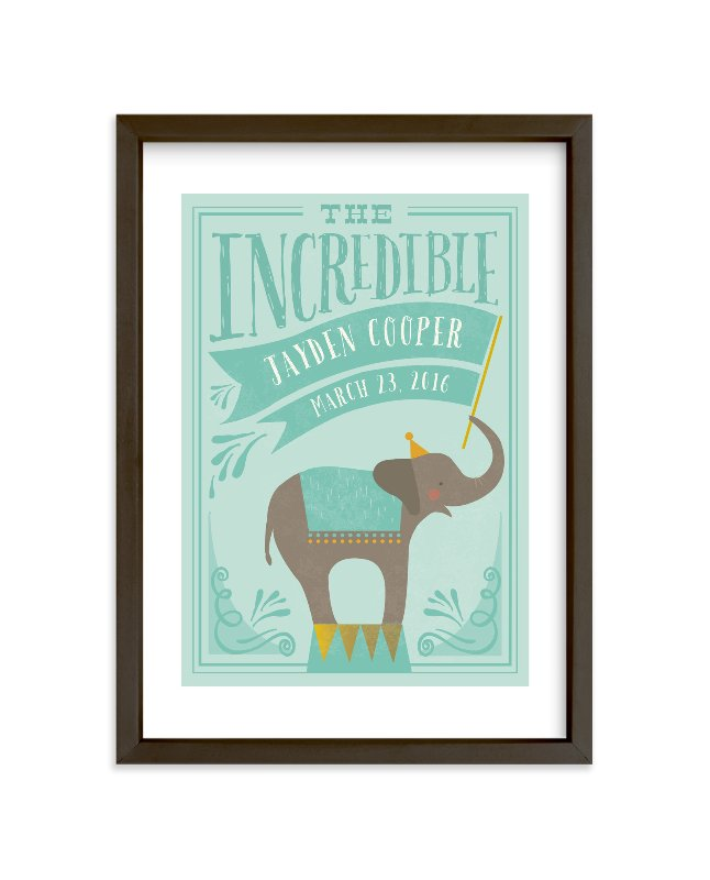 """Circus Elephant"" - Children's Custom Art Print by Karidy Walker in beautiful frame options and a variety of sizes."