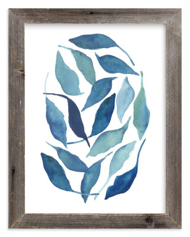 """Blue Leaves"" - Art Print by Tennyson Tippy in beautiful frame options and a variety of sizes."