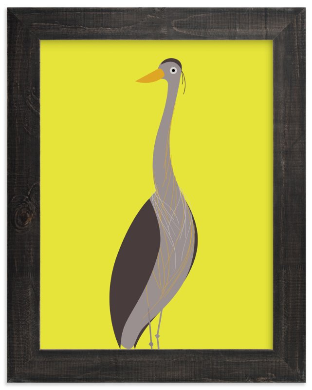 """""""The Elegant Heron"""" - Art Print by Mayel in beautiful frame options and a variety of sizes."""