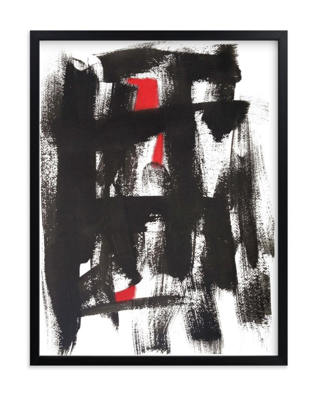 """""""Ink Kissed with Red"""" - Art Print by Deborah Velasquez in beautiful frame options and a variety of sizes."""