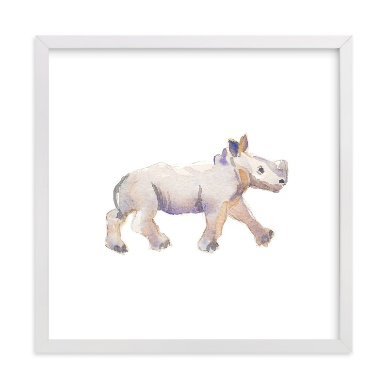 """Baby Rhino Watercolor"" - Art Print by Haley Mistler in beautiful frame options and a variety of sizes."