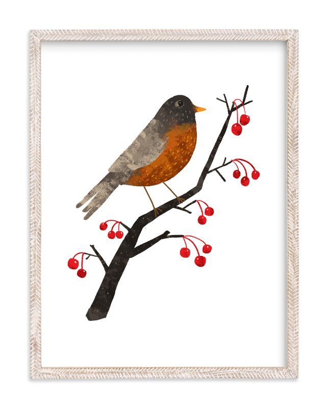 """""""American Robin"""" - Art Print by Evelline Andrya in beautiful frame options and a variety of sizes."""