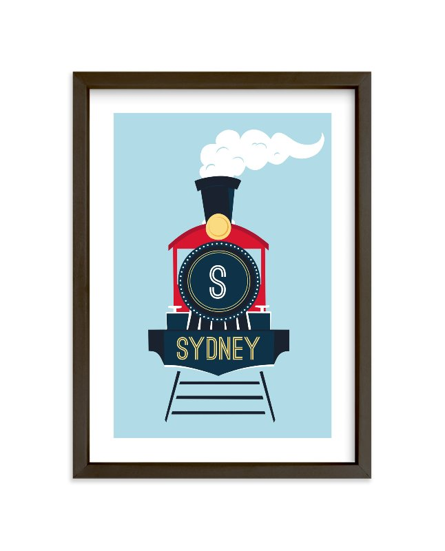 """Customized Choo-Choo"" - Children's Custom Art Print by Amanda Weaver in beautiful frame options and a variety of sizes."
