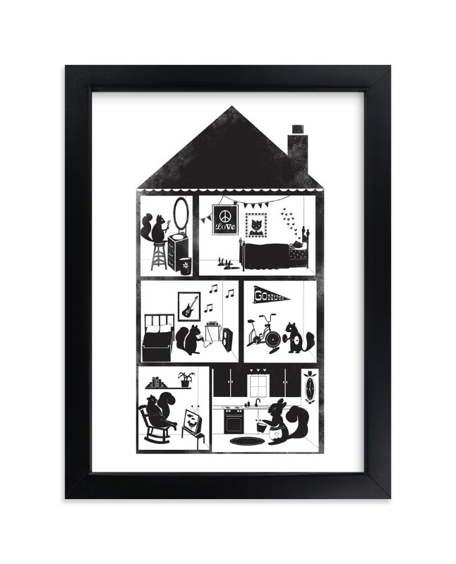 """Squirrel House"" - Art Print by Krista Messer in beautiful frame options and a variety of sizes."