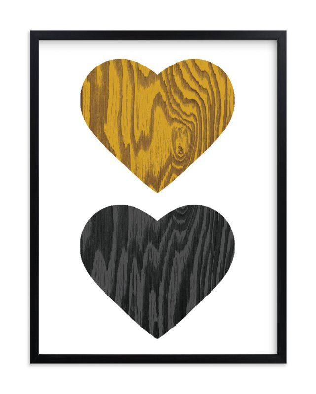 """Wood Grain Hearts"" - Art Print by Max and Bunny in beautiful frame options and a variety of sizes."