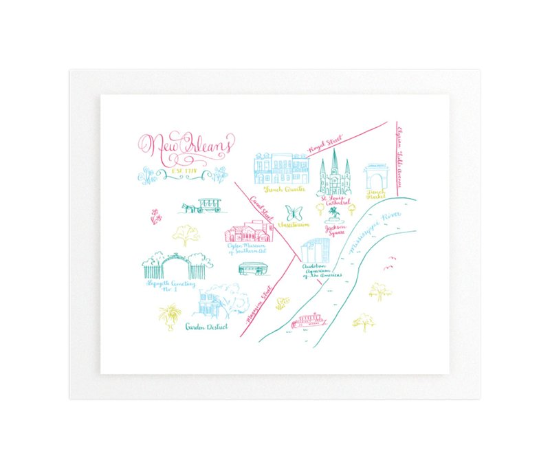 New Orleans Calligraphy Map Wall Art Prints By Megan Kelso
