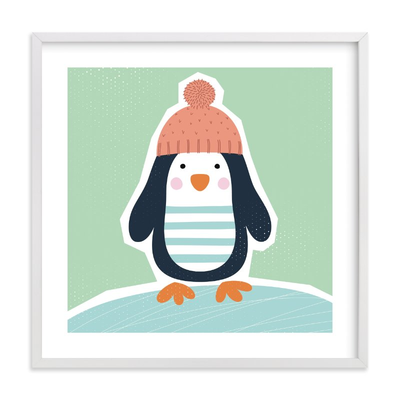 """""""Little Penguin Print"""" - Limited Edition Art Print by Ekaterina Romanova in beautiful frame options and a variety of sizes."""