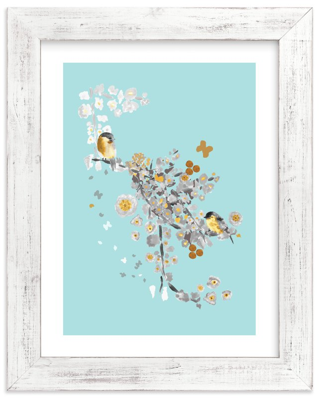 """Blossom Birds"" - Limited Edition Art Print by Acadreamia Designs in beautiful frame options and a variety of sizes."